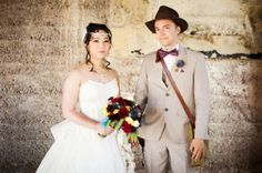 A geektastic costume shindig featuring winged shoes, fist bumps, and a groom dressed like Indiana Jones | Offbeat Bride