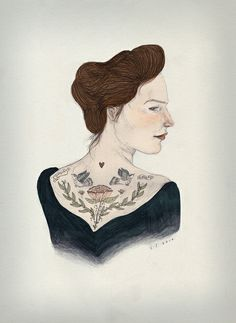 """Tattoed Woman"" #drawing by Lizzy Stewart"