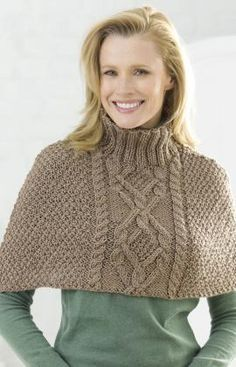 Cabled Poncho  #redheartyarn
