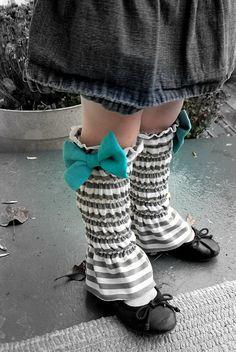 Shirred Leg Warmers w/ Bow.
