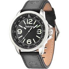 Timberland Caswell Stalen herenhorloge met datum en zwartleren band