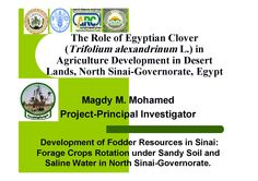Magdy M. Mohamed-FAO-Ppresentation  Development of Fodder Resources in Sinai: Forage Crops Rotation under Sandy Soil and Saline Water in North Sinai-Governorate.  Expert Consultation Workshop on Forage Production Potential of Berseem (Egyptian clover) and its Role in Sustainable Intensification of Agriculture in the Countries of Near East Region 6-7 November 2012, Cairo, Egypt