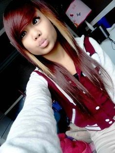 Red and blonde two tone hair