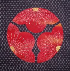 Circle flower block with sashiko by Susan Briscoe (UK)
