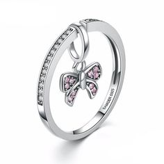 Convertible silver & pink bow charm ring/pendant – dangles, dazzles & delights