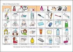 MATERIALES - Tableros de comunicación: Aseo personal 2.  Se compone de varios tableros para adultos con dificultades en la expresión. La finalidad es cubrir las necesidades básicas del día a día: alimentación, vestido, emociones, aseo, salidas, acciones…y poder comunicarlas. Puede servir también para al interlocutor para preguntar.  http://arasaac.org/materiales.php?id_material=678