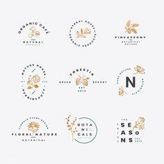 Set of floral botanical vectors premium image by wan Logo Boulangerie, Inspiration Logo Design, Cosmetic Logo, Graphisches Design, Design Patterns, Home Logo, Design Reference, Zentangle, Creative