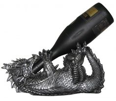 Mythical Dragon Wine Bottle Holder Statue in Medieval & Fantasy Bar or Kitchen Table Decor Sculptures and Decorative Gothic Racks and Stands As Gifts for Wine Lovers Gifts For Wine Drinkers, Gifts For Wine Lovers, Halloween Home Decor, Halloween House, Halloween 2014, Medieval Dragon, Medieval Fantasy, Mythical Dragons, Countertop Decor