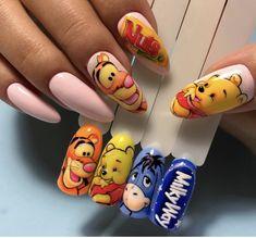 Disney Acrylic Nails, Halloween Acrylic Nails, Summer Acrylic Nails, Best Acrylic Nails, Cartoon Nail Designs, Nail Art Designs Videos, Animal Nail Designs, Nail Art Dessin, Jolie Nail Art