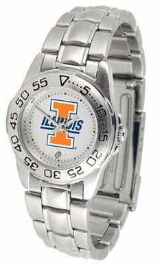 Illinois Fighting Illini Women's Sport ''Game Day Steel'' Watch by SunTime. $64.99. Make sure you know when this game is with this Illinois Fighting Illini Women's Sport ''Game Day Steel'' Watch. The Illinois Fighting Illini watch is constructed with a new 44mm, solid stainless case that houses a billboard-sized presentation of your favorite school logo. The Titan is 5 ATM water resistant watch case with a superior quality watch band accented with a contrastin...