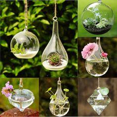 Clear Flower Hanging Vase Planter Terrarium Container Glass Home Wedding Decor #UnbrandedGeneric #HangingVase