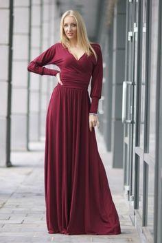 платья в пол цвет бордо