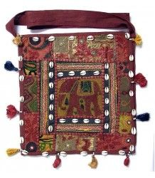 Indian Gujrati Shoulder Bag with Cowrie,Embroidery and Patchwork