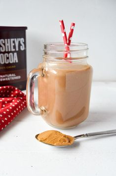 Avocado is the surprise ingredient in this healthy chocolate and peanut butter smoothie! Great for breakfast or a post workout snack! http://cookcraftlove.com/avocado-peanut-butter-smoothie/