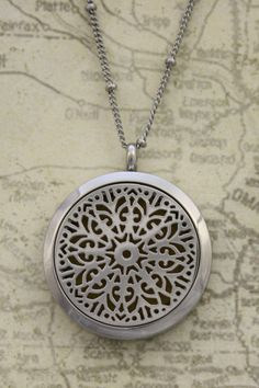 """Burst"""" Filigree 316L Stainless Steel Diffuser Necklace- 20"""