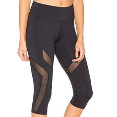 Women Solid Mid-Calf High Sexy Skinny Leggings Of Patchwork Mesh Yoga Leggings Fitness Sports Calf-Length Pants Sports Trousers, Sport Pants, Running Pants, Yoga Pants, Running Clothing, Yoga Clothing, Mesh Yoga Leggings, Capri Leggings, Capri Pants