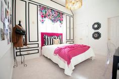 Cute teen girl room idea pink and white and black