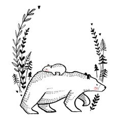 Embroidery Pattern of from marieketenberge. jwt Embroidery Pattern of from marieketenberge. Art And Illustration, Illustrations, Art Sketches, Art Drawings, Art Du Croquis, Bear Drawing, Bear Tattoos, Art Inspo, Embroidery Patterns