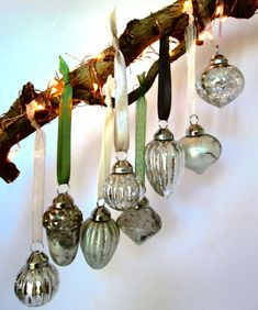 Here we have a boxed set of 8 exquisite silver mercury glass hanging baubles with delicate chiffon and satin ribbons. Mercury Glass, Jewel Tones, Clear Glass, Sconces, Wall Lights, Delicate, Sparkle, Shop, Christmas