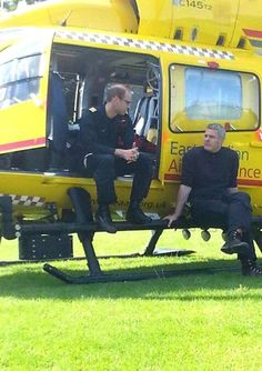 Prince William, working for East Anglian Air Ambulance, delivering a patient to Papworth Hospital. Picture: Jamie Storar.