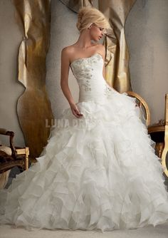 Dramatic Organza Strapless Ball Gown Dropped Waist With Ruffles Wedding Dresses