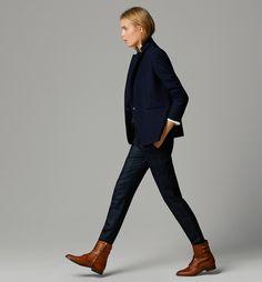 Diagonal weave blazer and black watch plaid trousers