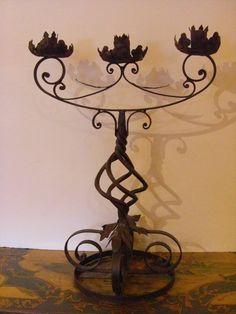 Antique Wrought Iron Decorative 3 Candelabra
