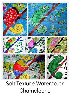 Salt-Texture-Watercolor-Chameleons