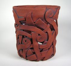 Red Orchid Pot with Spirals and Swirls in by WhistlingFishPottery