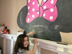 Painting Minnie Mouse With Disney Paint--A happy 4 year old with her new feature wall #DisneyPaintMom
