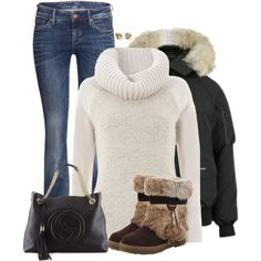 Bomber jacket by cnh92 on Polyvore featuring Mint Velvet, Canada Goose, H&M, Bearpaw, Gucci and White House Black Market