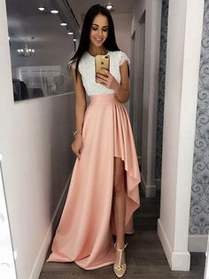 A-Line Crew Cap Sleeves Split-Side Pink Satin Prom Dress with Lace,scoop neck dresses,high low prom dresses,cap sleeve dresses,sweep train dresses Prom Dresses For Teens Long, High Low Prom Dresses, Pink Prom Dresses, Prom Dresses With Sleeves, A Line Prom Dresses, Grad Dresses, Cheap Prom Dresses, Stylish Dresses, Dress Outfits