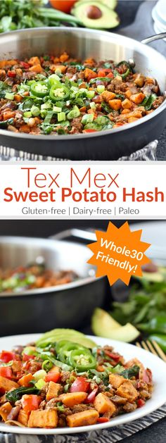Make good use of leftover taco meat by givingthis easy Tex Mex Sweet Potato Hasha try. A tasty Whole30 and egg-free breakfast option! | The Real Food Dietitians | http://therealfoodrds.com/tex-mex-sweet-potato-hash/