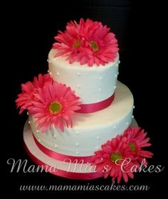 Pink Gerber Daisy Wedding Cake By Mama_Mias_Cakes on CakeCentral.com