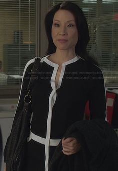 Joan's black shirtdress with white trim on Elementary.  Outfit Details: http://wornontv.net/27188/ #Elementary