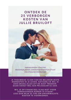 """Gefeliciteerd met jullie trouwplannen! In de zes jaar dat ik actief ben als weddingplanner en ceremoniemeester, heb ik vaak de vraag gekregen: """"Vergeten we niet iets?"""". Wanneer je je op mijn site inschrijft voor de nieuwsbrief met tips, ontvang je direct het boekje """"Ontdek de 25 verborgen kosten van jullie bruiloft"""". Veel plezier ermee! www.stralendmiddelpunt.nl"""