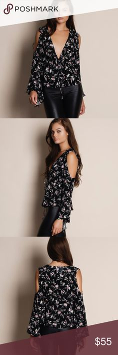 """1DAYSALE Arabian Night Cold Shoulder Floral Top Floral cold shoulder top with a tie waist. Available in black and white. This listing is for the BLACK. This is an ACTUAL PIC of the item - all photography done personally by me. Model is 5'9"""", 32""""-24""""-36"""" wearing the size small. NO TRADES DO NOT BOTHER ASKING. PRICE FIRM. Bare Anthology Tops Blouses"""