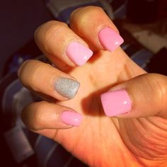Pink acrylic and glitter nails ;)