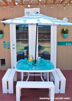 Glass Patio Table Makeover from Making the World Cuter--paint underside of table! Brilliant