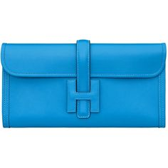 Hermès Clutch bags leather ($3,525) ❤ liked on Polyvore featuring bags, handbags, clutches, real leather purses, leather clutches, blue handbags, blue purse and blue leather handbags