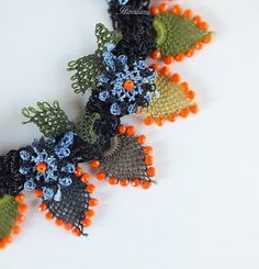 Colorful Turkish Needle Lace Necklace Flower Crochet