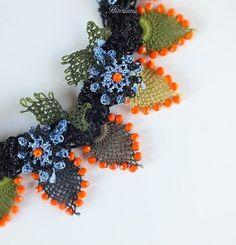 Colorful Turkish Needle Lace Necklace Flower Crochet