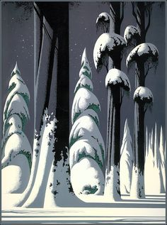 Yosemite - Eyvind Earle - Eyvind Earle was an American artist, author and illustrator, noted for his contribution to the background illustration and styling of Disney animated films in the Born: April New York City Died: July 2000 Art And Illustration, Gravure Illustration, Landscape Illustration, Eyvind Earle, Wallpaper Collection, Drawn Art, Fine Art, Landscape Art, Winter Landscape