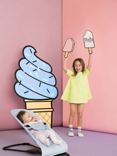 New Ice cream collection by BabyBjorn available from June exclusively at John Lewis Bouncer Balance Soft - Blue Mint, Cotton Kids Fashion Photography, Children Photography, Decoration Chic, Photo Zone, Baby Bjorn, Ice Cream Party, Diy Décoration, Party Props, Tween