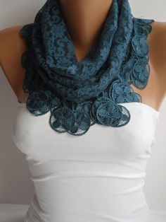 Dark Teal Lace Scarf Shawl Headband  Cowl with Lace Edge by DIDUCI, $17.90