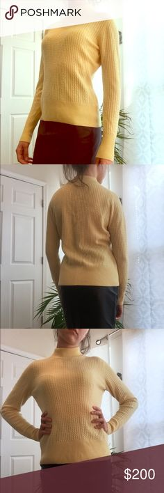Investments Fine Cashmere Sweater Investments 100% Cashmere Sweater! Cozy and chic, gorgeous daisy-yellow color with fine ribbing and cable detail. Short turtleneck. BNW/oT. NEVER worn. Excellent condition. Perfect pop of color for the classic Fall wardrobe! 🍂 INVESTMENTS Sweaters Cowl & Turtlenecks