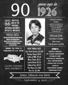 Birthday Poster 1927 Facts Personalized by HaleyMadisonDesign 90th Birthday Invitations, 90th Birthday Parties, Birthday Celebration, Birthday Ideas, Birthday Crafts, Invites, Grandpa Birthday, Mother Birthday, Chalkboard Poster