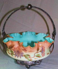 Museum Quality ~ Antique Victorian Brides Basket ~ Outstanding Thomas Webb Hand Painted Enameled Bowl In Original Middletown Quadruple Plate Frame ~ Collectors Dream Piece: Removed Victorian Baskets, Victorian Bride, Kitchen Baskets, Brides Basket, Vases, Antique Glassware, Fenton Glass, Glass Birds, Glass Collection