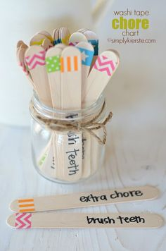 Pin for Later: 9 Charts to Track You Children's Chores (Including a Few DIY) Washi Tape Chore Sticks Simply Kierste's colorful chore sticks turn assigning chores into a fun game. Chores For Kids, Activities For Kids, Crafts For Kids, Diy Crafts, Chore Sticks, Chore Chart Kids, Chore Charts, Behavior Charts, Washi Tape Crafts