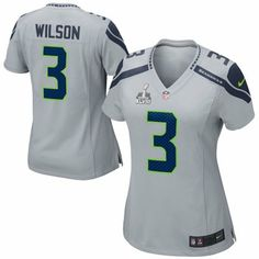 Nike Russell Wilson Seattle Seahawks Ladies Super Bowl XLVIII Game Jersey -  Gray d138174fd